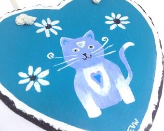 Gift for cat lover, mom's birthday, best friend gift, painted slate, cat art, slate tile, hanging heart, sister gift , mum nan gift