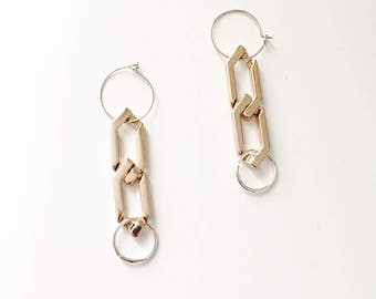 Industrial large chain earrings