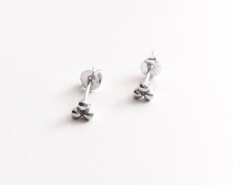 Tiny triple balls stud earrings, sterling silver triple dot studs