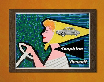 FINE ART REPRODUCTION Renault Car Print 1958  Vintage Car Poster Retro  Art   Retro Car Poster Renault Poster