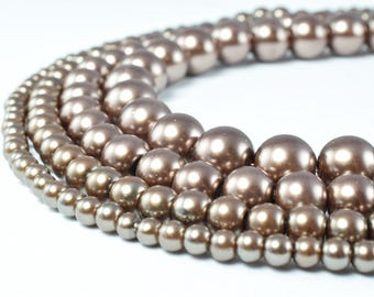 Bronze Color Glass Pearl Beads Round Size 4mm/6mm/8mm/10mm Shine Round Ball Beads for Jewelry Making Item#789222046392