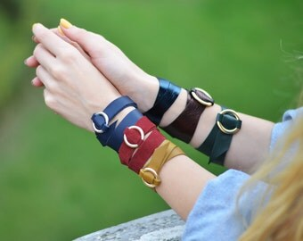 Leather Strap Bracelet Leather Cuff Bracelets for Women Leather Wrap Necklace Christmas Gifts for Her Ring Choker Gifts under 20