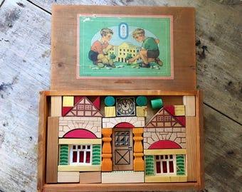 1950s building bricks, building blocks, house puzzle, child's box, kawaii box, wooden box, vintage house puzzle, doll's house, wooden bricks