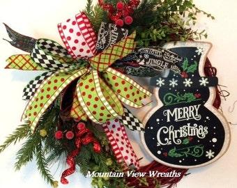 Grapevine Christmas Wreath, Merry Christmas Wreath, Blackboard Christmas Wreath, Holiday Wreath, Snowman Wreath, Whimsical Christmas Wreath
