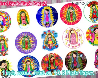 Lady of Guadaulape, Virgin de Guadaulape- 1 inch bottle cap images