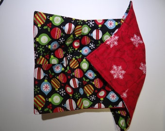 Colorful Christmas ornaments and white snowflakes reversible microwave bowl cozies