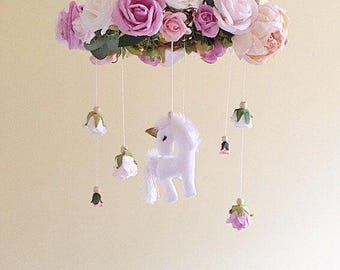 Baby mobile- unicorn baby mobile- floral mobile- nursery mobile- unicorn nursery mobile- baby girl mobile- floral chandelier unicorn mobile