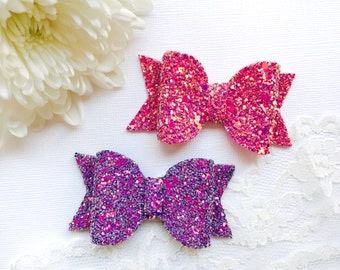 Set of 2 Girly Glitter Hair Bows, girls bows, toddler bows, baby bows, hair bow headband, clip bows, bow clips, hair bow clip