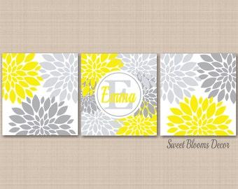 Yellow Gray Nursery Wall Art,Yellow Gray Floral Decor,Yellow Gray Bedroom Art,Yellow Gray Bathroom,Yellow Gray Neutral Nursery UNFRAMEDC424