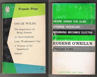 Two vintage soft-cover/paper-back books, collections of the best plays of Oscar Wilde and Eugene O'Neill, both published in 1958.