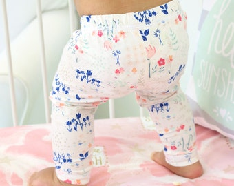 20% OFF SALE - Navy & Blush Floral Garden Baby Girl Leggings | Navy, Blush, Pink, Mint, Cream, Floral, Sweet, Headband Baby Girl Pants