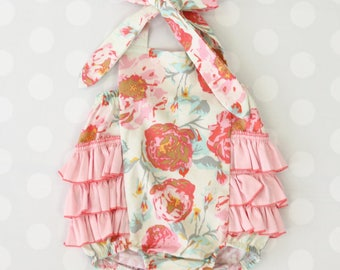 Felicity's Floral Ruffle Bubble Romper | Pink Ruffles | Floral, Flower, Pink, Aqua, Ivory, Vintage, Ruffle Baby Girl Outfit