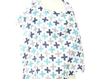 15% OFF SALE - Cooper's Plus Sign | Gray and Aqua Nursing Cover