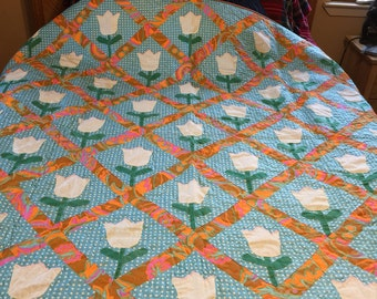 Vintage tulip quilt top newly quilted