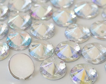 Clear AB 4/5/6/10mm Pointed Face Round Acrylic Flatback Rhinestones Scrapbooking Art Nail Craft - Iridescent