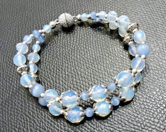 Moonstone and cat eye bracelet