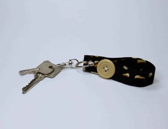 Keychain Black beige with big button pocket pendant pendant keychain key ring pendant for keychain hook