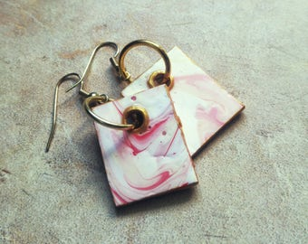 PINK AND GOLD ready to ship canvas earrings dangle christmas gift handmade hand painted custom gel resin art wear girlfriend gift bridesmaid