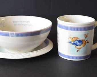 Wedgwood BEATRIX POTTER Peter Rabbit 2001 Mug, Plate & Bowl