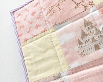 Patchwork Cot Bed Quilt and FREE Matching Cushion or Bunting  - Peach Lemon and Lilac - Castles and Birds