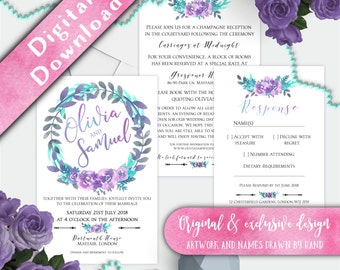 Printable Wedding Invitation Set, Custom wedding invitations, Teal Purple and Grey Floral Wedding Invitation, Floral Watercolour