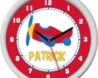 Toy Airplane Personalized Wall Clock Nursery Decor Shower Gift