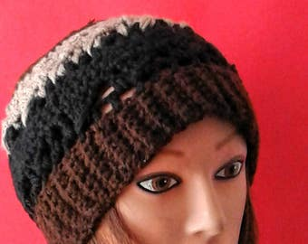 Brown, Black and being knitted beanie