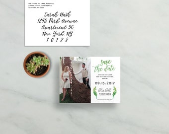 simple modern save the dates // green watercolor foliage leaves // brush hand lettering calligraphy // PRINTED save the date magnets cards
