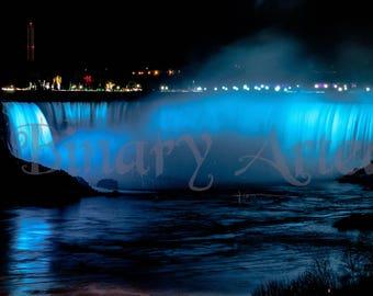 Niagara Falls at Night-Digital Download, Landscape Photography, Art, Home, Office,
