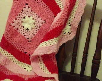 Pinks and cream handmade crochet lacy baby nursery blanket vintage design