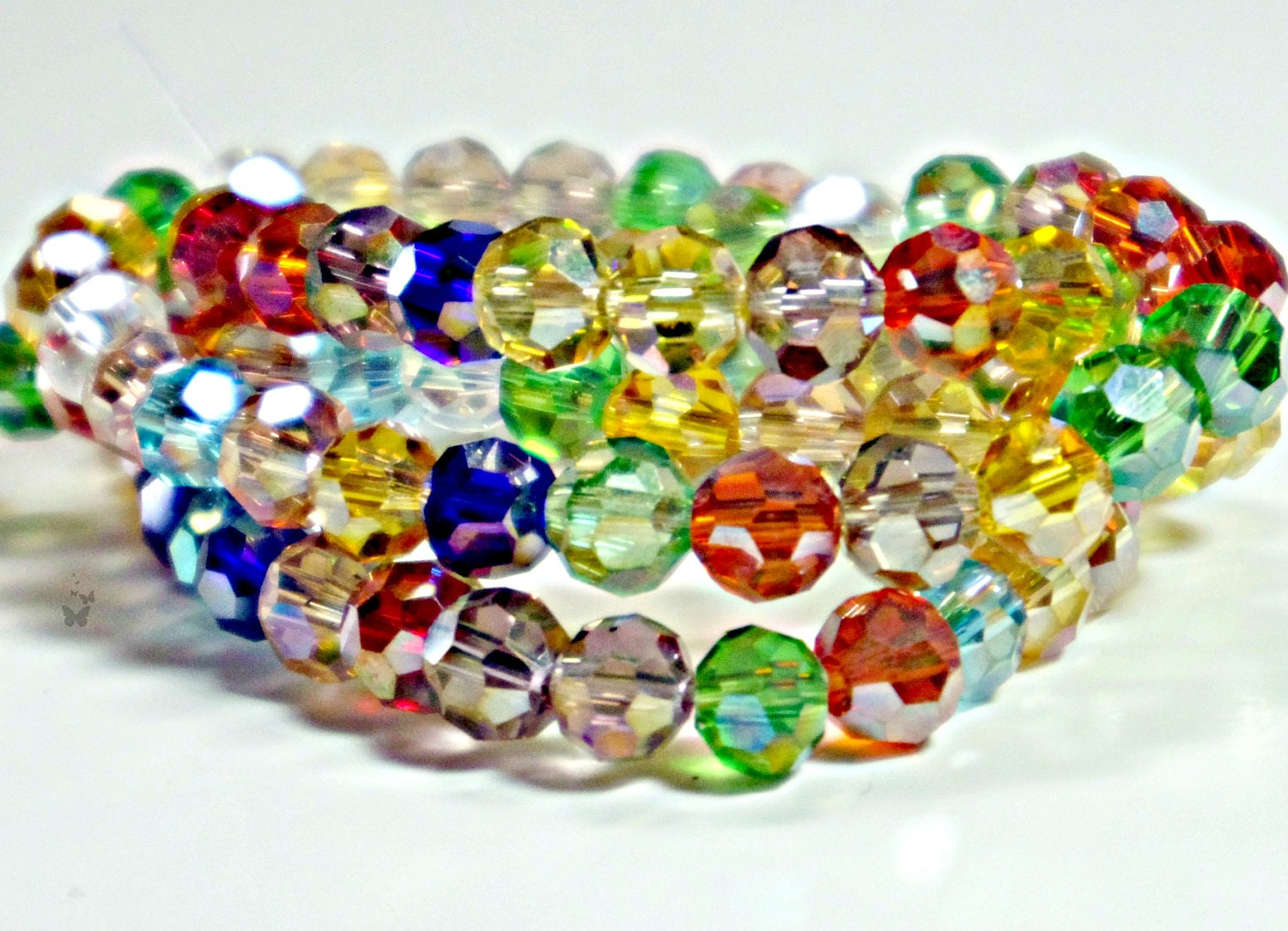 multi color 6mm faceted glass 1