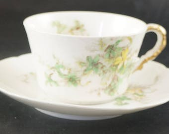 LIMOGES Cup and Saucer Green Leaves with Yellow Flowers