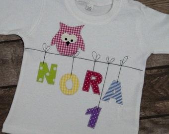 Long-sleeved shirt Birthdayshirt with name and OWL on the Clothesline