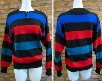 Vintage Sweater • 70s Pullover Sweater • 70s Clothing • Men's Medium Stripe Sweater • Light Sweater • Black Striped Sweater • Crewneck Shirt