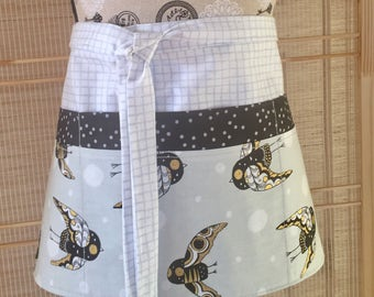 Vendor apron, owl apron, teacher apron, half apron, 6 pocket apron