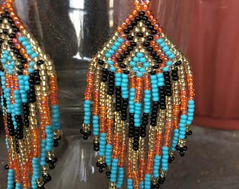 Beaded Fringe Earrings, Sky Blue-Orange-Yellow-Black
