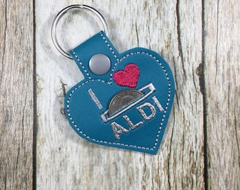Aldi Quarter Keeper, Aldi Quarter Holder, Keychain, Key Fob, Friend Gift, Funny, Gift, Gift For Mom, Birthday Present, turquoise, blue