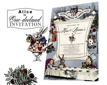 Alice In Wonderland Theme: Custom Color Engagement Party 20x30 sign