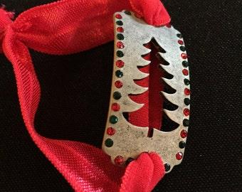 Christmas Tree Burnished Silver Bracelet