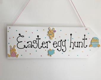 Easter Egg Hunt handmade wooden gift plaque