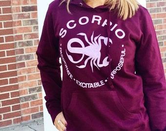 SCORPIO - What's Your Sign Blackberry Hoodie, purple hoodie, zodiac hoodie, hoodie, zodiac sweatshirt, scorpio hoodie, scorpio sweatshirt