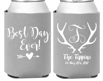 Personalized Wedding Can Coolers -Deer Antler Design Rustic Favors - Custom Wedding Favors  -  Engagement Party Favors - Rehearsal Dinner