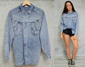 Acid Wash SHIRT vintage denim woman retro patched collared button up 1980's long sleeve hipster grunge