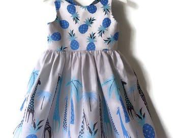 Girls dress, summer dress, Giraffe dress, safari dress, grey and blue dress, girls fashion, girls clothes, pineapple dress, tropical dress