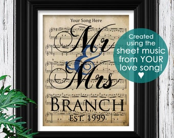 YOUR WEDDING SONG | Velvet Textured Sheet Music | Personalized Couples Gift Set | Couples Housewarming | Personalized Husband Gift for Him