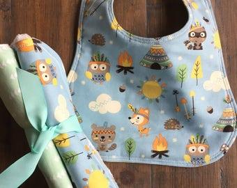 Baby Boy Bib, Baby Burp Cloths, Baby Girl Bib, Baby Girl Burp Cloths, Baby Bib and Burp Cloth Set, Baby Shower Gift Set, Gender Neutral Set.