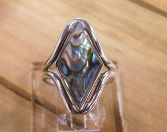 Beautiful Abalone Sterling Silver Ring Size 8 3/4