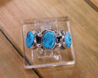 Navajo Turquoise Sterling Silver Wide Ring Size 9