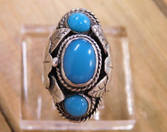 Sterling Silver Turquoise Poison Ring Adjustable