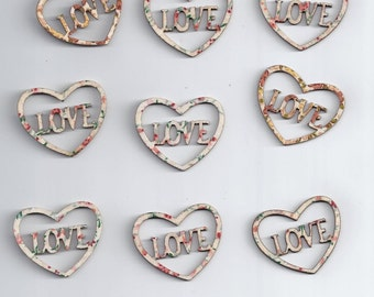 10Pcs Colorful Mixed Color heart hollow Botones Wooden Buttons (188)